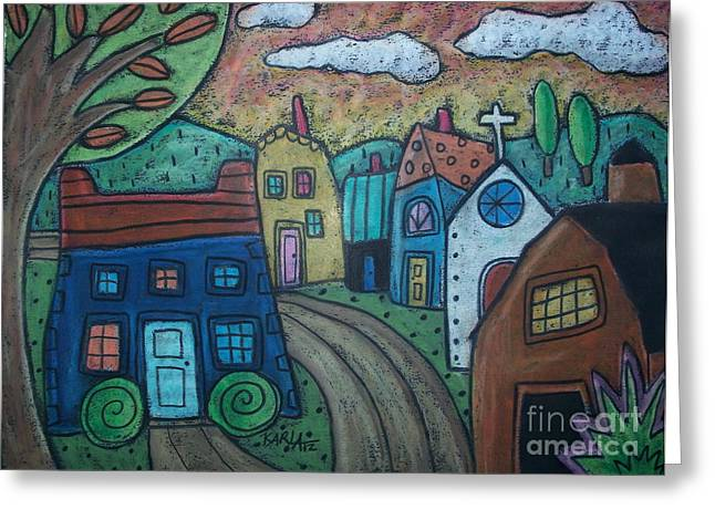 Oil Pastels Pastels Greeting Cards - Road To Town Greeting Card by Karla Gerard