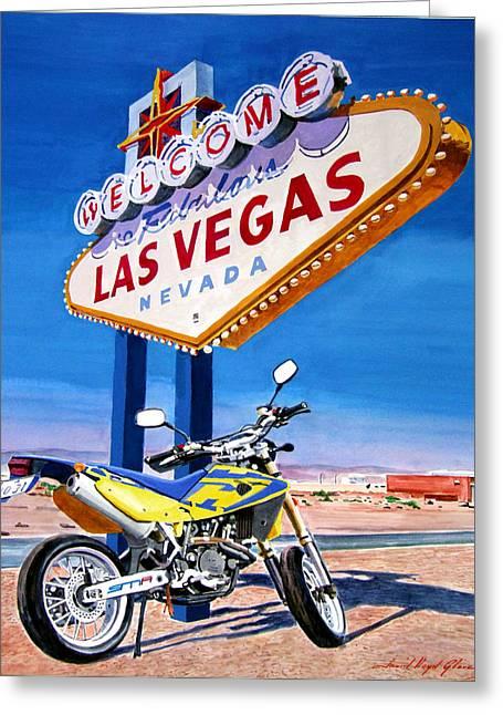 Las Vegas Sign Greeting Cards - Road Trip to Vegas Greeting Card by David Lloyd Glover