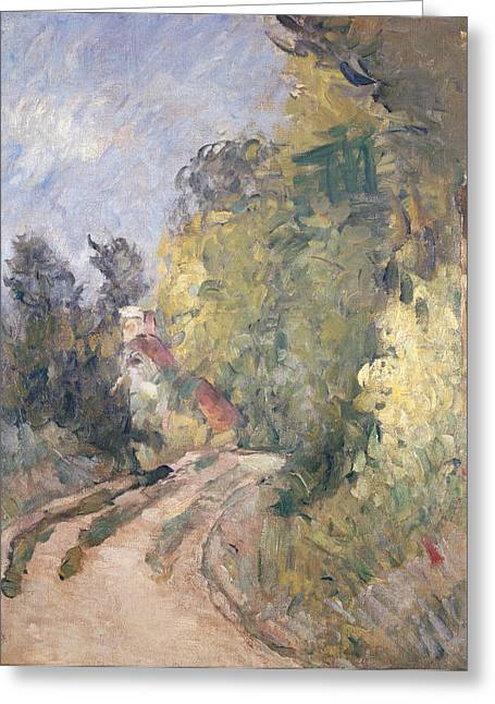 Rural Road Greeting Cards - Road Turning under Trees Greeting Card by Paul Cezanne