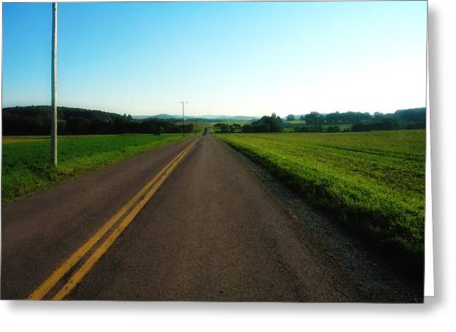 Yellow Line Greeting Cards - Road Weary Greeting Card by Ross Powell