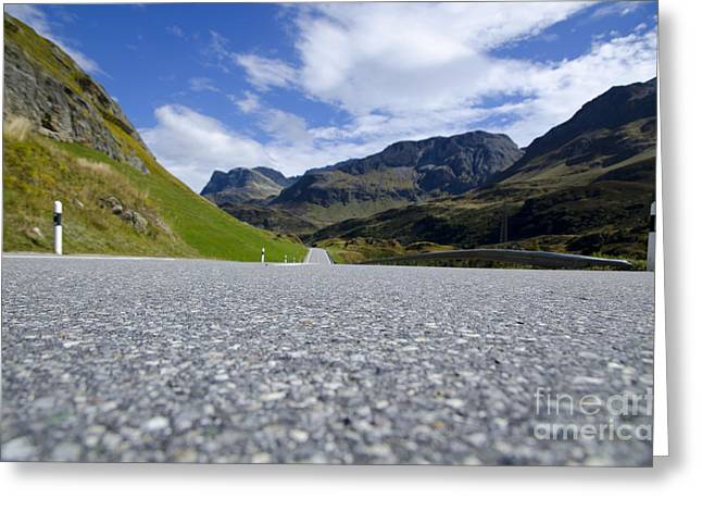 Mountain Road Greeting Cards - Road with mountain Greeting Card by Mats Silvan