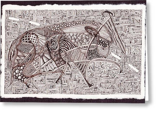 Buck Buchheister Greeting Cards - Roadkill Petroglyph Greeting Card by Buck Buchheister