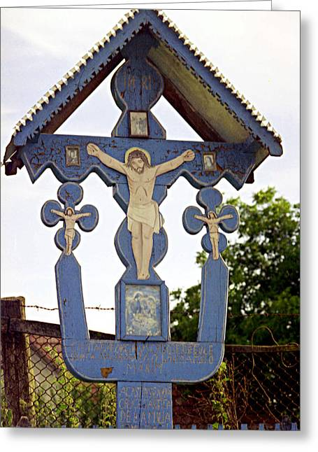 Wayside Cross Greeting Cards - Roadside crucifix II Greeting Card by Emanuel Tanjala