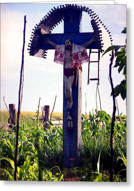Wayside Cross Greeting Cards - Roadside crucifix III Greeting Card by Emanuel Tanjala