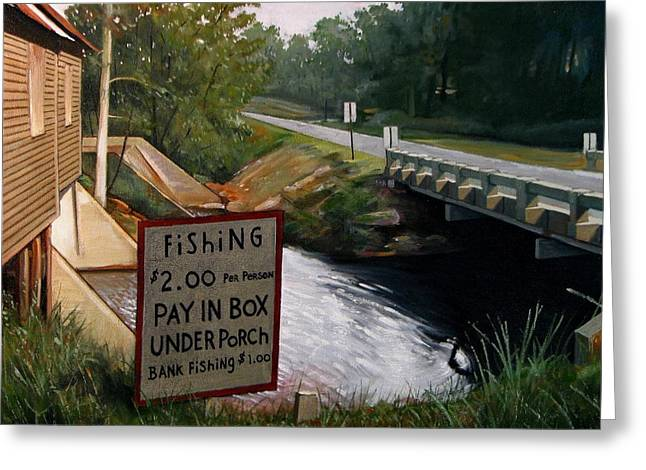 Old Country Roads Greeting Cards - Roadside Fishing Spot Greeting Card by Doug Strickland