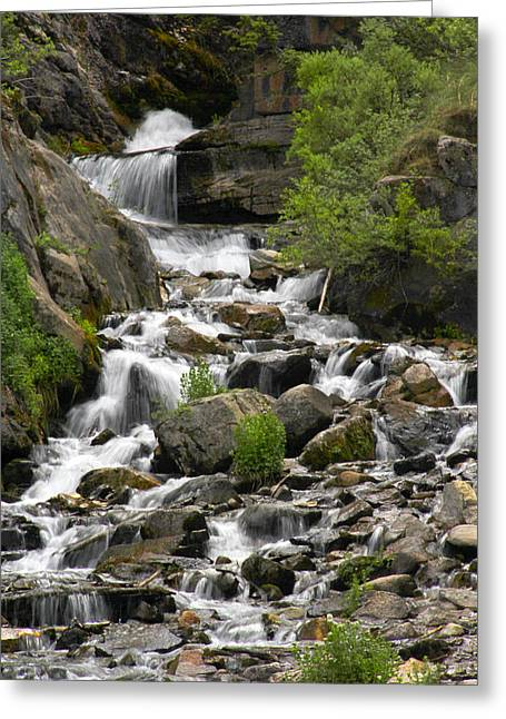 Water Fall Digital Art Greeting Cards - Roadside Mountain Stream Greeting Card by Mike McGlothlen
