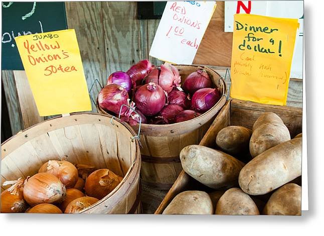 Roadside Produce Stand Onions And Potatoes Greeting Card by Denise Lett