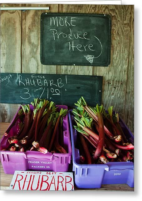 Roadside Produce Stand Rhubarb Greeting Card by Denise Lett