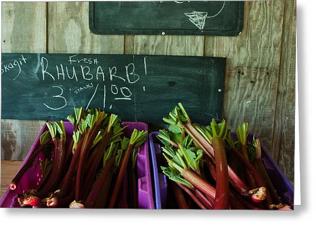 Roadside Produce Stand Rhubarb Greeting Card by Denise Lett