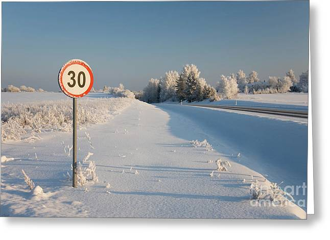Snow Drifts Greeting Cards - Roadside Sign in Winter Greeting Card by Jaak Nilson