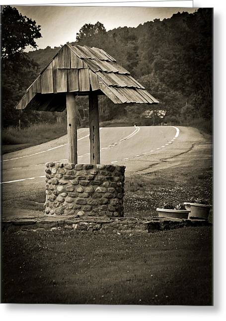 Wishing Well Greeting Cards - Roadside Well-Come Greeting Card by DigiArt Diaries by Vicky B Fuller