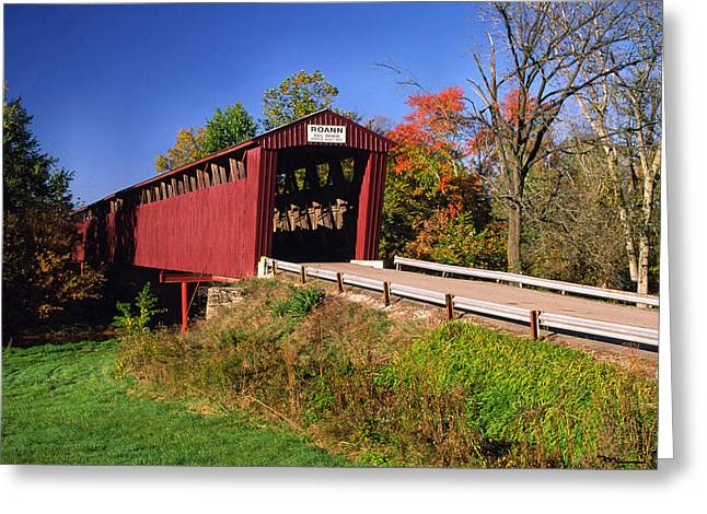 Indiana Autumn Greeting Cards - Roann Covered Bridge Wabash County Indiana Greeting Card by Marsha Williamson Mohr