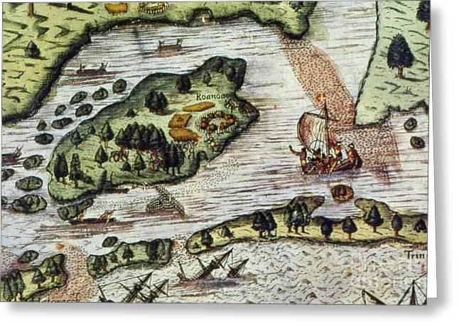 Roanoke Island Greeting Cards - Roanoke Island, 1585 Greeting Card by Granger