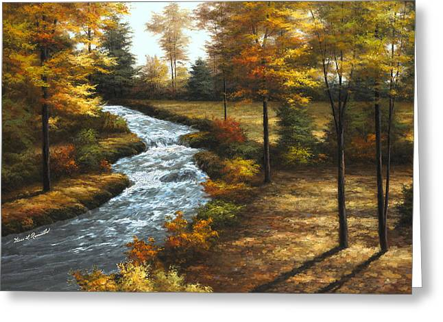 Autumn Scene Greeting Cards - Roaring Brook Greeting Card by Diane Romanello