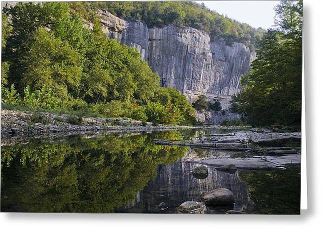 Jeka World Photography Greeting Cards - Roark Bluff reflections near Steel Creek Buffal National River Greeting Card by Jeff Rose