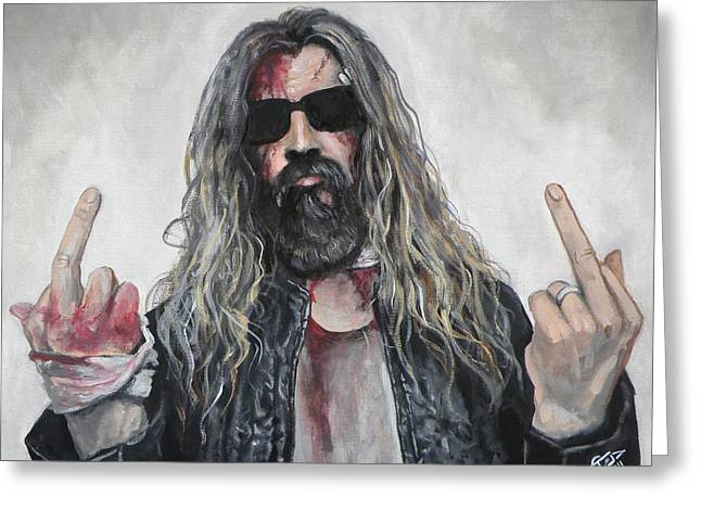 Living Dead Greeting Cards - Rob Zombie Greeting Card by Tom Carlton