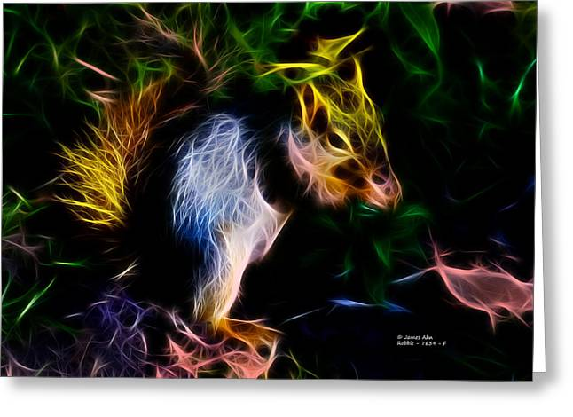 Fox Squirrel Mixed Media Greeting Cards - Robbie the squirrel - 7839 - Fractal Greeting Card by James Ahn