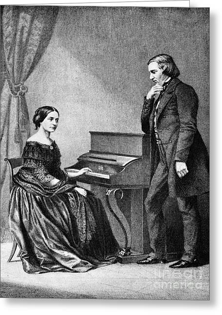 Mental Institution Greeting Cards - Robert And Clara Schumann, German Greeting Card by Omikron