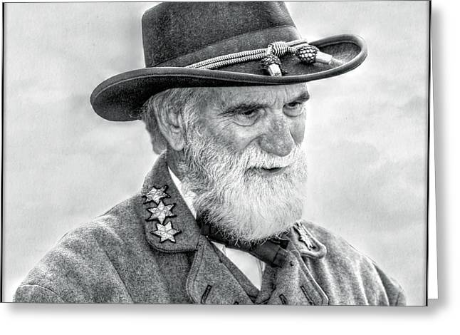 Confederate Digital Art Greeting Cards - Robert E Lee Confederate General Portrait Greeting Card by Randy Steele