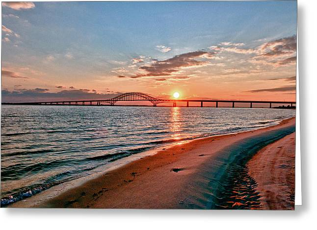 Robert Moses Greeting Cards - Robert Moses Bridge Sunset Greeting Card by Linda Pulvermacher