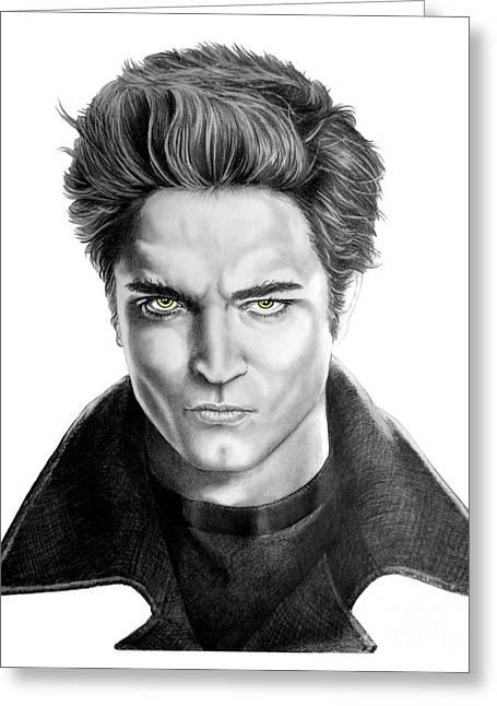 Twilight Drawings Greeting Cards - Robert Pattinson - Twilights Edward Greeting Card by Murphy Elliott