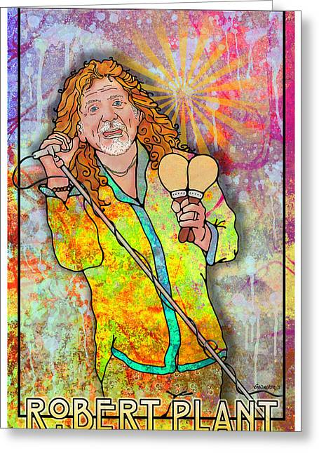 Rock And Roll Heaven Greeting Cards - Robert Plant Greeting Card by John Goldacker