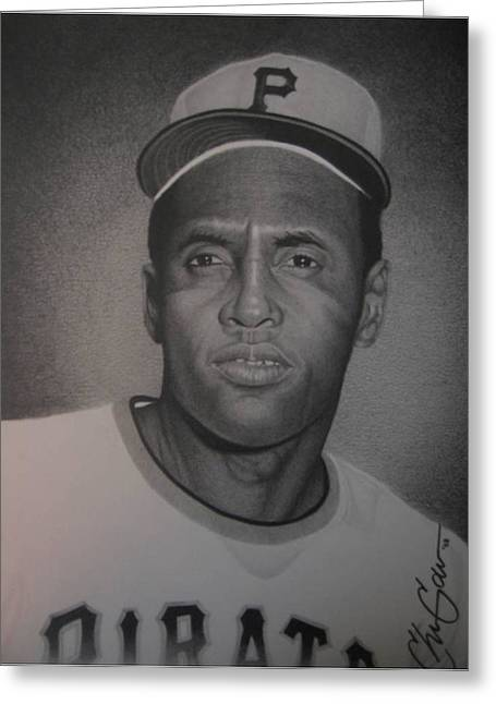 Roberto Clemente Drawings Greeting Cards - Roberto Clemente Greeting Card by Christian Garcia