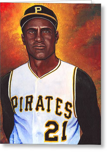 Roberto Clemente. Pittsburgh Pirates Paintings Greeting Cards - Roberto Clemente Greeting Card by Steve Benton