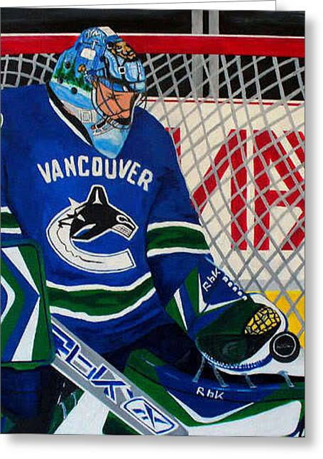 Canucks Paintings Greeting Cards - Roberto Luongo Greeting Card by Pj Artman