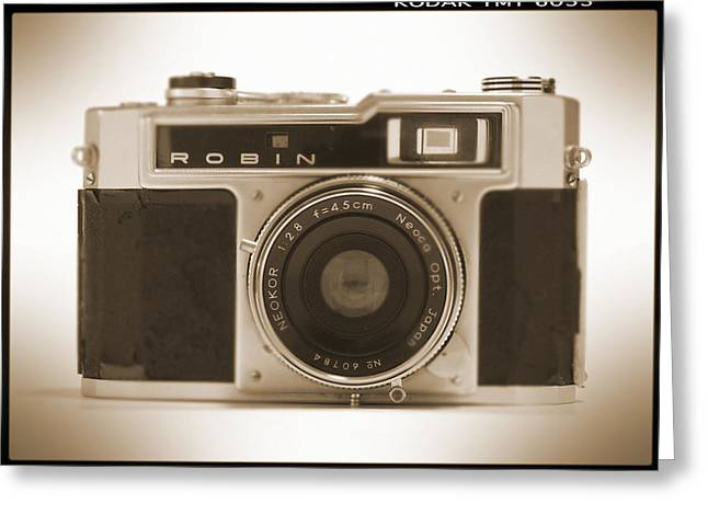 Vintage Camera Greeting Cards - Robin 35mm Rangefinder Camera Greeting Card by Mike McGlothlen
