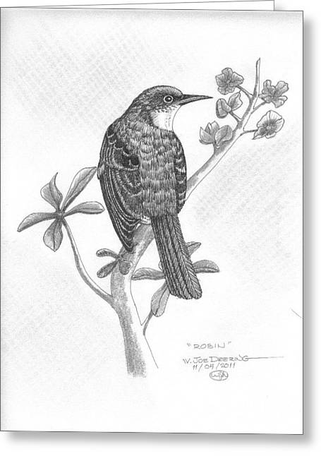 Barn Pen And Ink Greeting Cards - Robin Greeting Card by William Deering