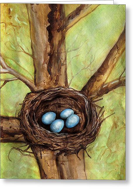 Art In Acrylic Greeting Cards - Robins Nest Greeting Card by Carrie Jackson