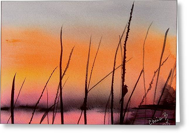 Wet Into Wet Watercolor Greeting Cards - Robins Sunset Greeting Card by Chris Blevins
