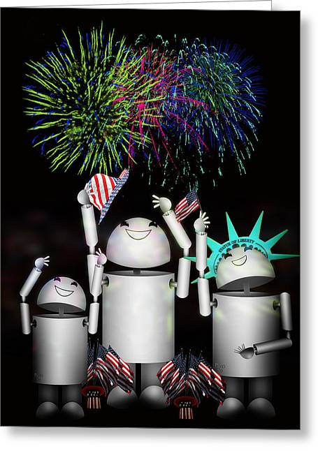 Independence Day Mixed Media Greeting Cards - Robo-x9 and Family Celebrate Freedom Greeting Card by Gravityx Designs