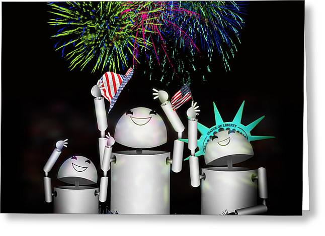 Robo-x9 and Family Celebrate Freedom Greeting Card by Gravityx Designs