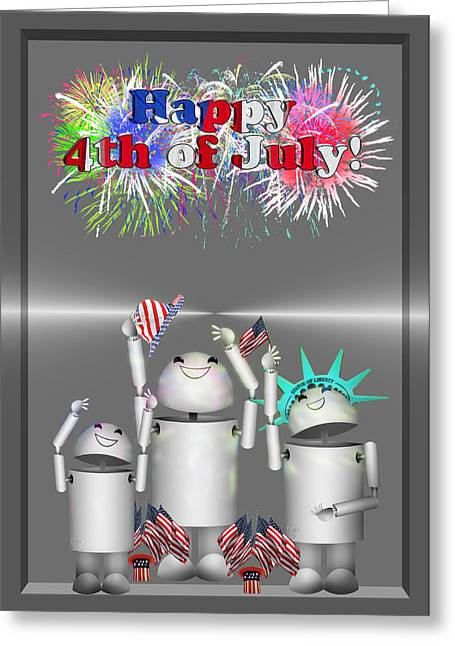 Memorial Day Mixed Media Greeting Cards - Robo-x9 Celebrates Freedom Greeting Card by Gravityx Designs