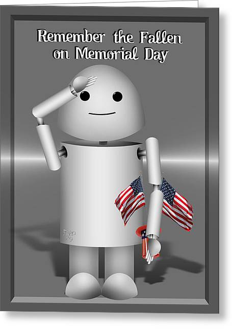 Memorial Day Mixed Media Greeting Cards - Robo-x9 Remembers Greeting Card by Gravityx Designs