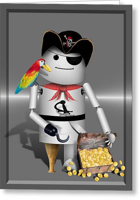 Pirates Mixed Media Greeting Cards - Robo-x9 The Pirate Greeting Card by Gravityx Designs