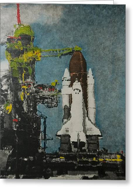 Space Shuttle Mixed Media Greeting Cards - Robot and the Shuttle Greeting Card by Kenneth Drylie