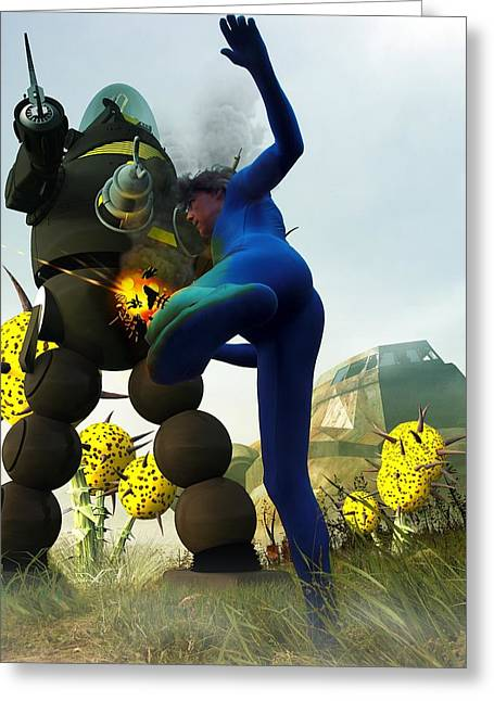 Science Fiction Art Greeting Cards - Robot Fighter V2 Greeting Card by Michael Knight
