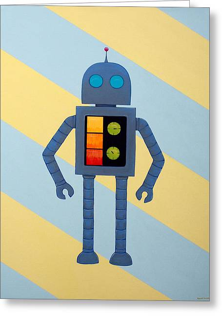 Cartoon Paintings Greeting Cards - Robot Jr. Greeting Card by Ramey Guerra