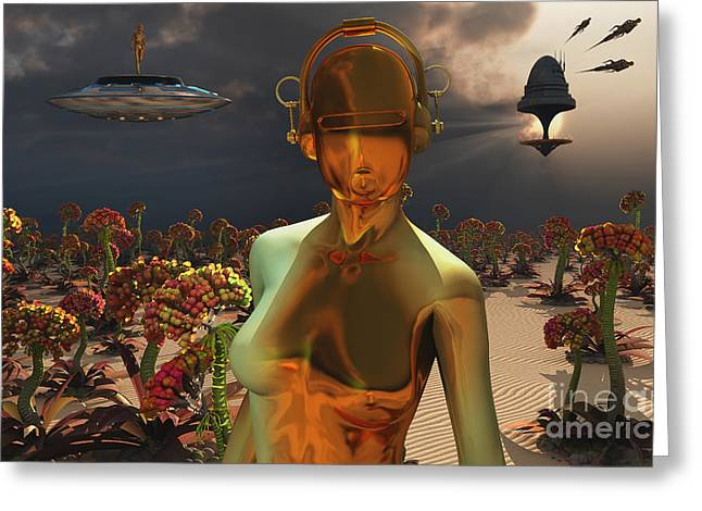 Robots Are Often Used As Farmers Greeting Card by Mark Stevenson