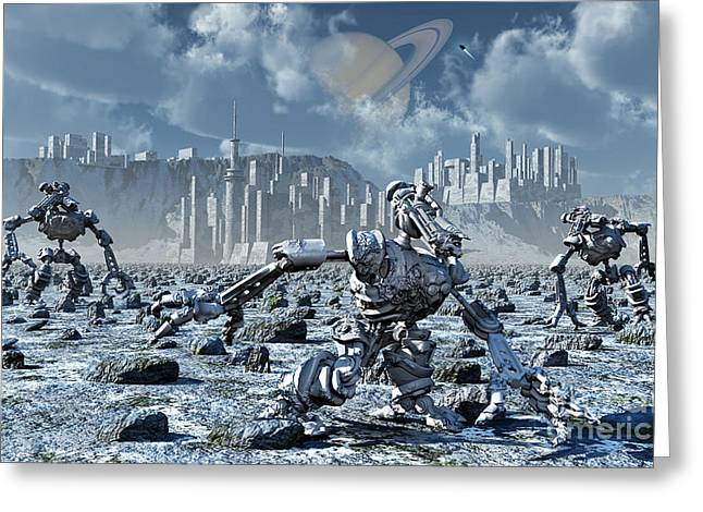 Snow-covered Landscape Digital Greeting Cards - Robots Gathering Rich Mineral Deposits Greeting Card by Mark Stevenson