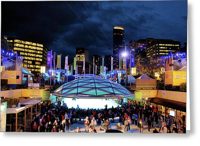 Winter Olympics Greeting Cards - Robson Square Greeting Card by Calvin Wray