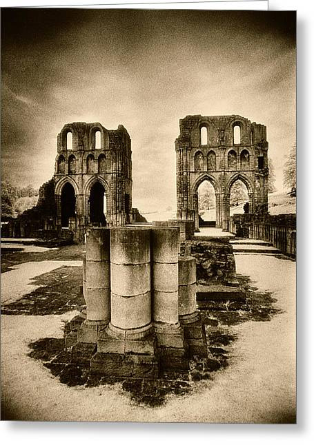 Uncanny Greeting Cards - Roche Abbey Greeting Card by Simon Marsden