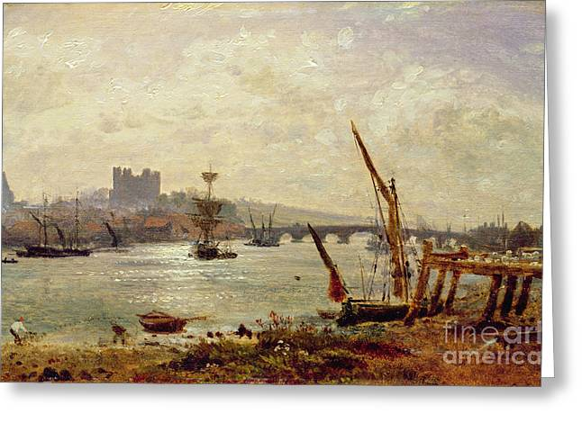 River Medway Greeting Cards - Rochester Cathedral and Castle Greeting Card by Frederick Nash