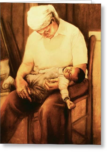Jesus Pastels Greeting Cards - Rock-a-bye Grandma Greeting Card by Curtis James
