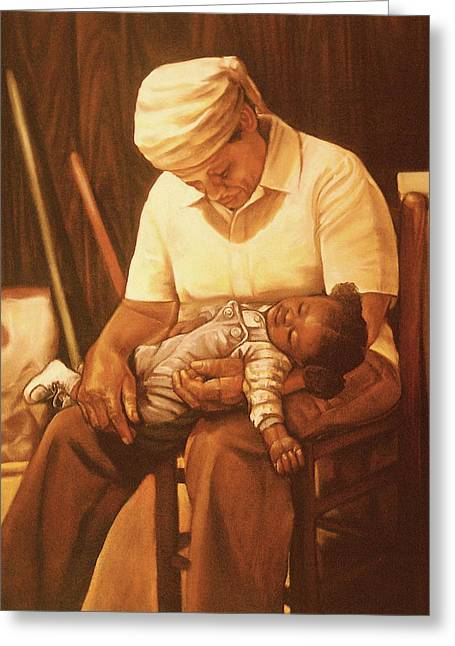 African-american Pastels Greeting Cards - Rock-a-bye Grandma I Greeting Card by Curtis James