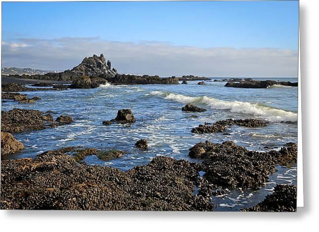 Surfer Art Greeting Cards - Rock Beach Greeting Card by Athena Mckinzie