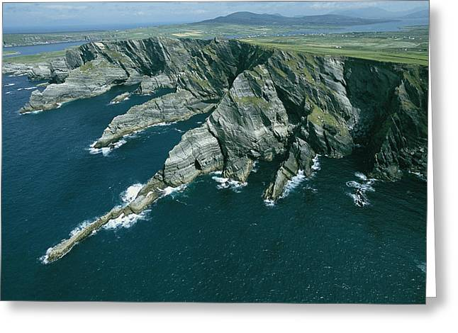 Cliffs And Water Greeting Cards - Rock Cliffs And Stony Outcrops Greeting Card by Brian J. Skerry